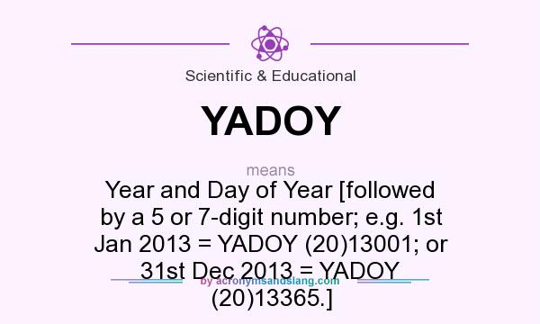 What does YADOY mean? It stands for Year and Day of Year [followed by a 5 or 7-digit number; e.g. 1st Jan 2013 = YADOY (20)13001; or 31st Dec 2013 = YADOY (20)13365.]