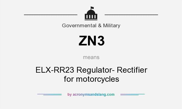 What does ZN3 mean? It stands for ELX-RR23 Regulator- Rectifier for motorcycles