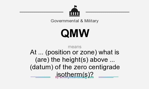 What does QMW mean? It stands for At ... (position or zone) what is (are) the height(s) above ... (datum) of the zero centigrade isotherm(s)?