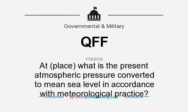What does QFF mean? It stands for At (place) what is the present atmospheric pressure converted to mean sea level in accordance with meteorological practice?