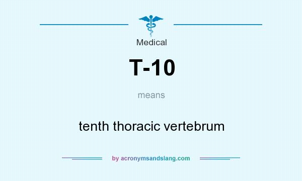 What does T-10 mean? It stands for tenth thoracic vertebrum