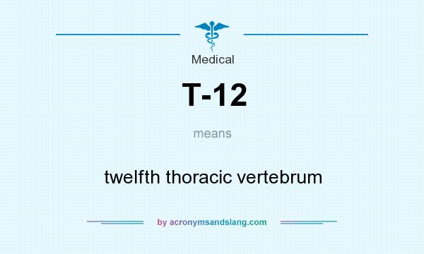 What does T-12 mean? It stands for twelfth thoracic vertebrum