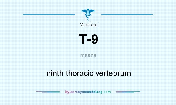 What does T-9 mean? It stands for ninth thoracic vertebrum