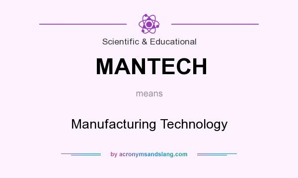 What does MANTECH mean? It stands for Manufacturing Technology