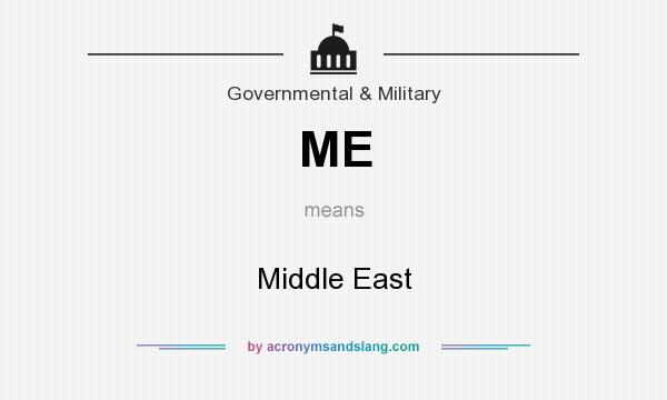 What does ME mean? It stands for Middle East