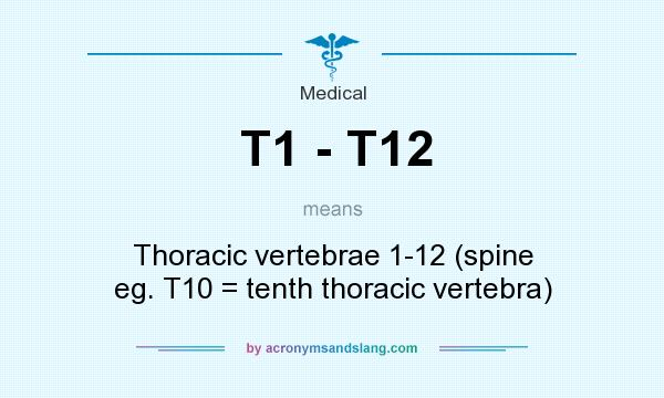 What does T1 - T12 mean? It stands for Thoracic vertebrae 1-12 (spine eg. T10 = tenth thoracic vertebra)