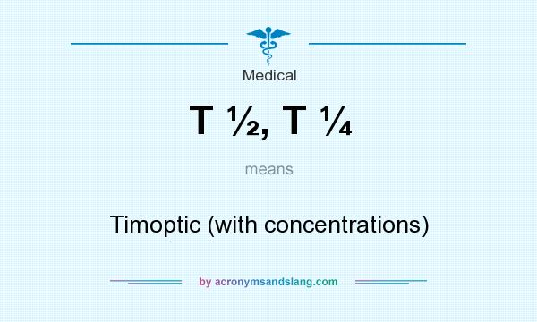 What does T ½, T ¼ mean? It stands for Timoptic (with concentrations)