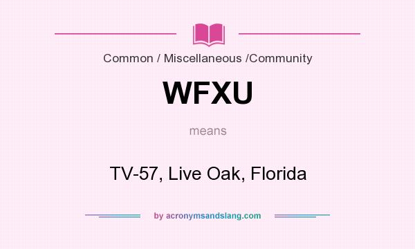 What does WFXU mean? It stands for TV-57, Live Oak, Florida