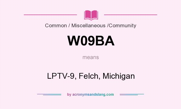 What does W09BA mean? It stands for LPTV-9, Felch, Michigan