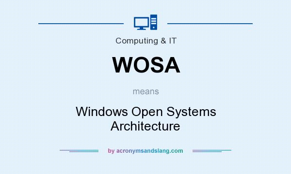 What does WOSA mean? It stands for Windows Open Systems Architecture