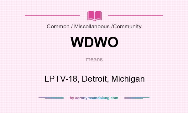 What does WDWO mean? It stands for LPTV-18, Detroit, Michigan