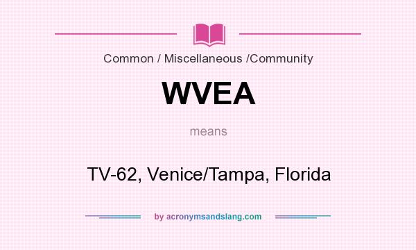 What does WVEA mean? It stands for TV-62, Venice/Tampa, Florida
