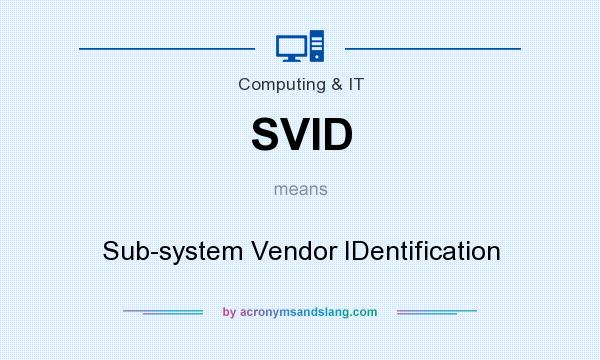 What does SVID mean? It stands for Sub-system Vendor IDentification