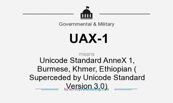 What does UAX-1 mean? It stands for Unicode Standard AnneX 1, Burmese, Khmer, Ethiopian ( Superceded by Unicode Standard Version 3.0)