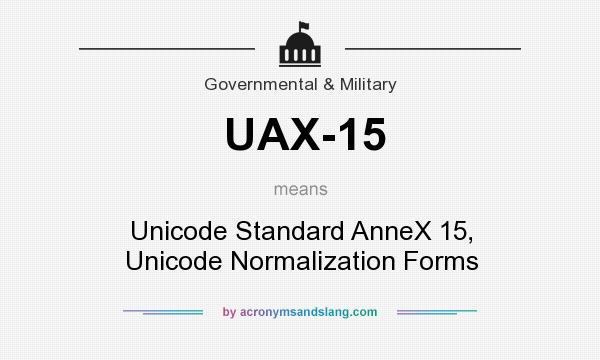 What does UAX-15 mean? It stands for Unicode Standard AnneX 15, Unicode Normalization Forms