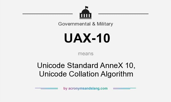 What does UAX-10 mean? It stands for Unicode Standard AnneX 10, Unicode Collation Algorithm