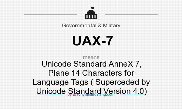What does UAX-7 mean? It stands for Unicode Standard AnneX 7, Plane 14 Characters for Language Tags ( Superceded by Unicode Standard Version 4.0)