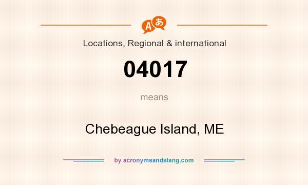 What does 04017 mean? It stands for Chebeague Island, ME