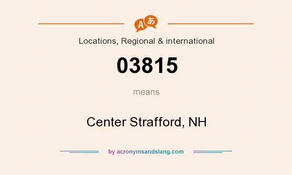 What does 03815 mean? It stands for Center Strafford, NH