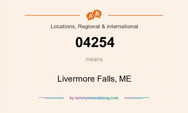 What does 04254 mean? It stands for Livermore Falls, ME