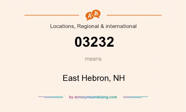 What does 03232 mean? It stands for East Hebron, NH