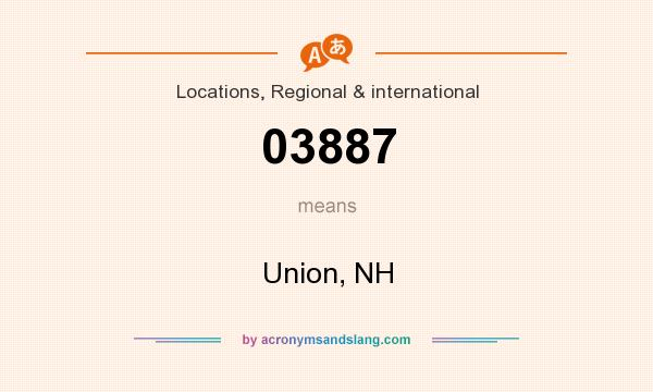 What does 03887 mean? It stands for Union, NH
