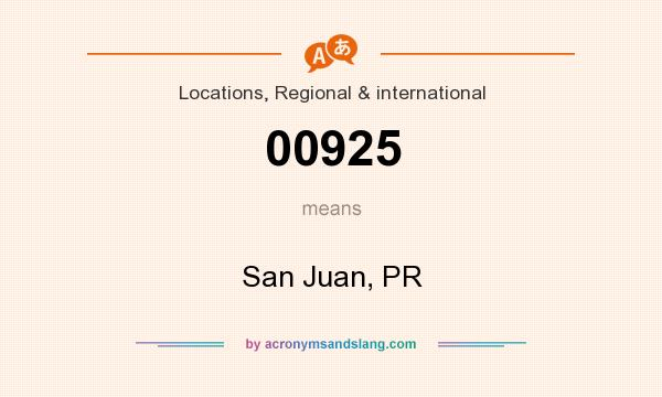 What does 00925 mean? It stands for San Juan, PR
