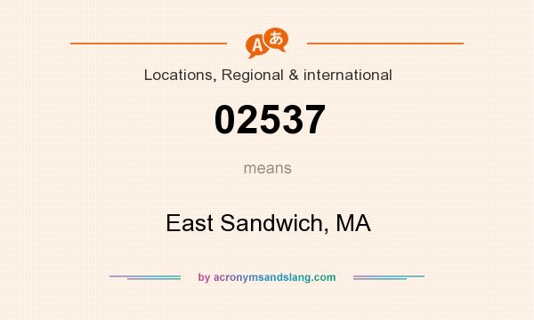 What does 02537 mean? It stands for East Sandwich, MA