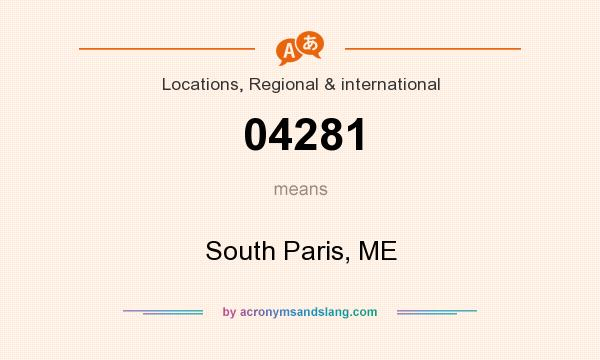 What does 04281 mean? It stands for South Paris, ME