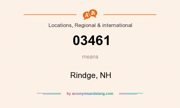 What does 03461 mean? It stands for Rindge, NH