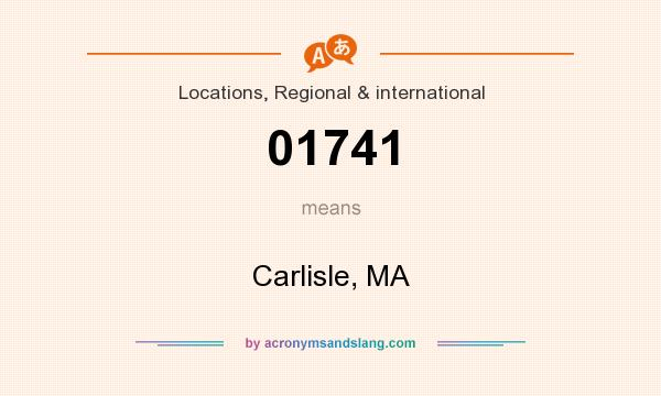 What does 01741 mean? It stands for Carlisle, MA
