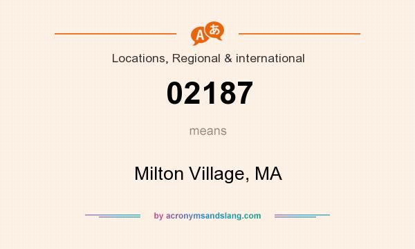What does 02187 mean? It stands for Milton Village, MA