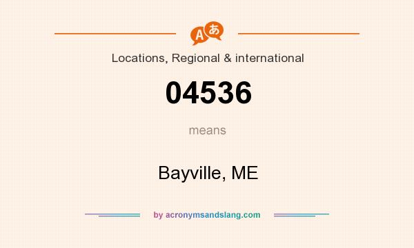 What does 04536 mean? It stands for Bayville, ME