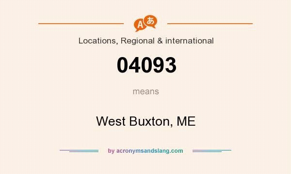 What does 04093 mean? It stands for West Buxton, ME