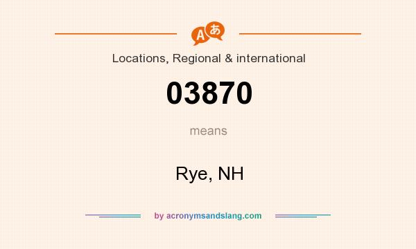 What does 03870 mean? It stands for Rye, NH