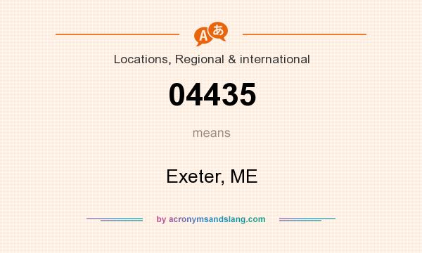 What does 04435 mean? It stands for Exeter, ME
