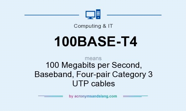 What does 100BASE-T4 mean? It stands for 100 Megabits per Second, Baseband, Four-pair Category 3 UTP cables