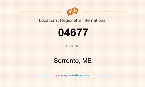 What does 04677 mean? It stands for Sorrento, ME