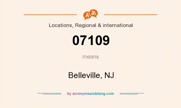 What does 07109 mean? It stands for Belleville, NJ