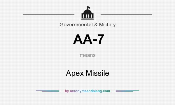 What does AA-7 mean? It stands for Apex Missile