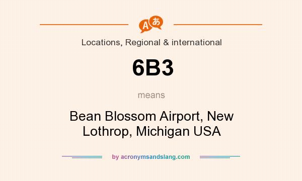 What does 6B3 mean? It stands for Bean Blossom Airport, New Lothrop, Michigan USA