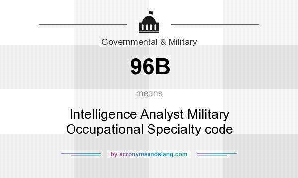 What does 96B mean? It stands for Intelligence Analyst Military Occupational Specialty code