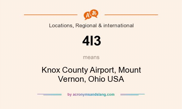 What does 4I3 mean? It stands for Knox County Airport, Mount Vernon, Ohio USA