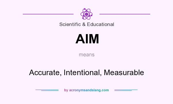 What does AIM mean? It stands for Accurate, Intentional, Measurable