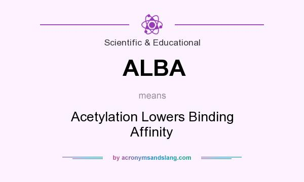 What does ALBA mean? It stands for Acetylation Lowers Binding Affinity