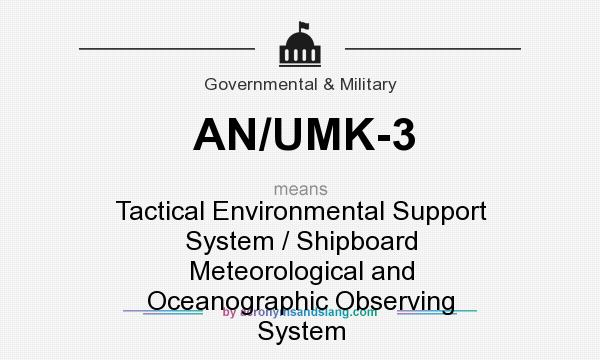 What does AN/UMK-3 mean? It stands for Tactical Environmental Support System / Shipboard Meteorological and Oceanographic Observing System