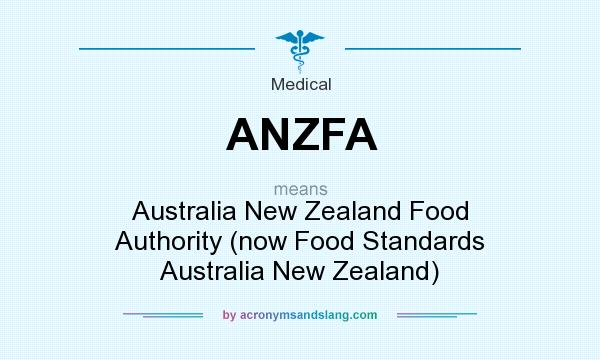 What does ANZFA mean? It stands for Australia New Zealand Food Authority (now Food Standards Australia New Zealand)
