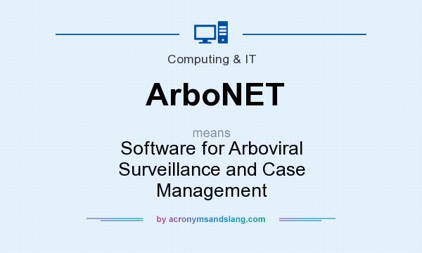 What does ArboNET mean? It stands for Software for Arboviral Surveillance and Case Management