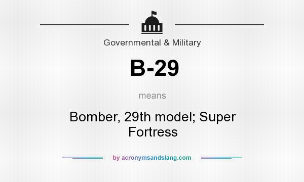 What does B-29 mean? It stands for Bomber, 29th model; Super Fortress