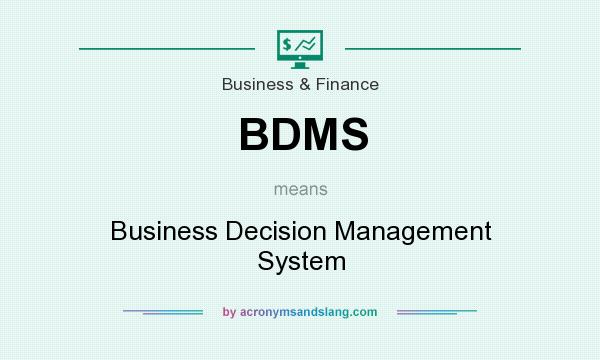 What does BDMS mean? It stands for Business Decision Management System